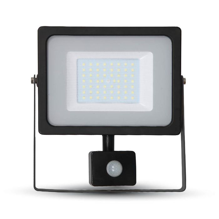 Image du produit 1: V-TAC 50W LED Floodlight PIR Sensor Black 3000K